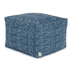 Majestic Home Goods - Navy Navajo Large Ottoman - Add a little character to your living room or patio with the Majestic Home Goods navy Navajo large ottoman. This ottoman is the perfect accessory to add comfort and style to any room while functioning as a decorative foot stool, pouf, or coffee table. Woven from outdoor treated polyester, these ottomans have up to 1000 hours of U.V. protection and are able to withstand all of nature's elements. The ottomans are eco-friendly and feature a zippered slipcover. Spot clean slipcover with mild detergent and hang dry. Do not wash insert.