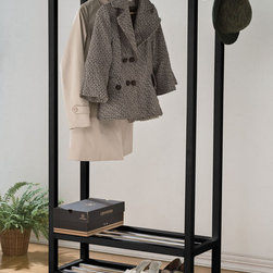 "Acme Furniture - Maeve Garment Rack in Black - Maeve Garment Rack in Black; Finish: Black; Materials: Solid Pine Wood, 15mm Iron rail; Weight: 13.2 lbs; Dimensions: 31"" x 13"" x 65""H"