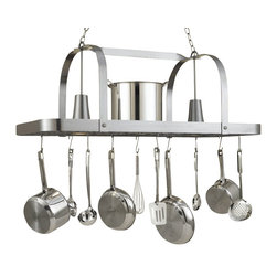 Hi-Lite MFG - Baker 2-Lite Pot Rack - Includes six pot rack hooks, 3 ft. chain and 7 ft. wire. Accessories not included. UL listed. Made from steel. Satin steel finish. 44 in. L x 15 in. W x 17 in. HHi-Lite achieved success through attention to detail and stubbornness to only manufacture the highest quality product. Hi-Lite has built its reputation as a premier lighting manufacturer by using only the finest raw materials, inspirational designs, and unparalleled service. This allows us great flexibility with our designs as well as offering you the unique ability to have your custom designs brought to light.