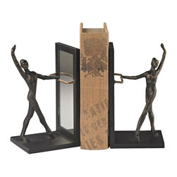 Joshua Marshal - Bar Bookend (Set Of 2), Bronze/White Marble Finish - Bar Bookend (Set Of 2), Bronze/White Marble Finish