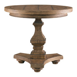 Sherrill Occasional - Sherrill Occasional Round End Table 365-935 - A round lamp table is the perfect complement to other Parisian Loft occasional with its heavy square shaped column and tri-footed base supporting the rustic plank top.