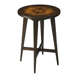 Butler Specialty - Butler Accent Table - This classic contemporary accent table captures the -less is more - mantra of sophisticated design. Four tapered legs are reinforced by functional yet decorative cross stretchers then topped with a simple round tabletop featuring mahogany veneer. The table -s perfect simplicity complements any decor.