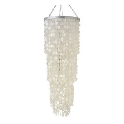 KOUBOO - Round King Size Chandelier with Capiz Seashells, Natural White - Total height including hanging chain 100 inches. Length of hanging chain can be shortened by removing chain links.