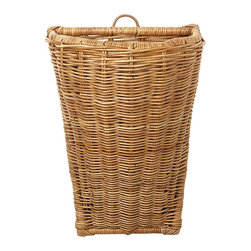 Eco Displayware - Large French Rattan Wall Basket in Natural - Great for closet, bath, pantry, office or toy and game storage. Earth friendly. 18 in. L x 13 in. W x 25.25 in. H (21.49 lbs.)These natural colored baskets add warmth and charm and keep you organized.