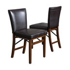 Great Deal Furniture - Rosalynn Brown Leather Folding Dining Chairs (Set of 2) - The Rosalynn Dining Chair is a perfect fit for any space in your home. Enjoy the contemporary shape adds an element of design to spruce up any dining room in a clean, yet sophisticated way. The folding features allows you to store them when not in use.