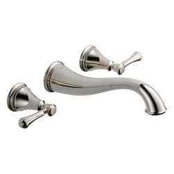 """Delta - Delta 3597LF-PNWL Cassidy Series Two-Handle Wall-Mounted Lavatory Faucet - The Delta 3597LF-PNWL is a Cassidy Series two handle Wall-Mounted Lavatory Faucet. This wall-mounted lavatory faucet features a solid brass fabricated body, an 8"""" widespread installation, 1/4 turn handle stops, and 1/2""""-14 NPT threaded female inlets for easy installment. It has a 9-9/16"""" long rigid spout that is reminiscent of an elephant's trunk, and it comes in a beautiful, Polished Nickel finish."""