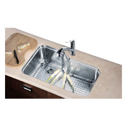 "Dawn Kitchen & Bath - Dawn DSU3118 36 inch Undermount Single Bowl Stainless Steel Kitchen Sink - The Dawn DSU3118 resembles the Franke Orca ORX110 sink in shape, but exceeds the ORX110 in gauge, functionality and in price.  The DSU3118 sink is 16 gauge, compared to the Franke Orca's 18 gauge.  This sink allows for its bottom grid to rest upon the bottom of the sink, instead of being elevated like in the ORX110. The custom fit cutting board and colander rest on the built in lip that runs all around the sink.  This elevates the working area to counter top height, which will decrease your back pain!  This stainless steel kitchen sink is beauitul.  If you are interested in purchasing all of it's components, search ""DSU3118 package"" in our search bar to save even more!"