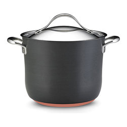 Anolon - Anolon Nouvelle Copper 8-Quart Covered Stockpot - With it's versatile functionality, this 8-quart covered saucepan from Anolon allows you to prepare a variety of food. A copper core base ensures even heat distribution to this nonstick pot.