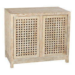 Studio A - Driftwood Lattice Two-Door Cabinet - Inspired by the soft, sandy hues of the seaside, the distinctive, sun-bleached look of the Driftwood Collection is achieved by first lightening the mango wood, then applying a subtle, creamy wash. Handcrafted lattice doors, adjustable shelves and two interior drawers.