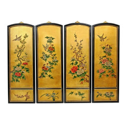 Oriental Furniture - Golden Birds and Flowers Wall Plaques - Add a touch of the East to your home decor with these exquisite wall plaques.  Each set is individually crafted by an artisan in Guangdong and features a unique floral motif set against a 24 carat gold leaf background.  this art set will bring a sophisticated Oriental accent to your home.