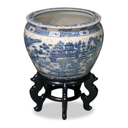 China Furniture and Arts - 16in Blue Canton Porcelain Fishbowl - Completely hand made by ceramist in China, and hand painted with traditional blue and white motif which was brought by the British to China in the early 18th century. Noble families of ancient China once used large bowls such as ours to protect their pond gold fish from the freezing cold of winter, now used today as a cachepot, it gives a plant a highly decorative place to put down roots. Stand sold separately.