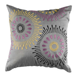 "Silver Purple Kaleidescope 18"" x 18"" Pillow  Set of 2 - *18"" x 18"" Pillow with Hidden Zipper"