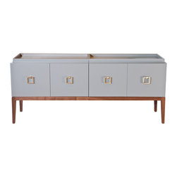 Mateo Cabinet - The Mateo Cabinet is one of my favorite designs. I designed this piece to have multiple functions. The doors open accordian style and there are 2 removable trays on top. The piece is a great Buffet or a great media cabinet. Available in any size or finish. Contact Weego Home for a custom quote.