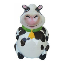 WL - 9 Inch Black and White Smiling Cow with Bell Ceramic Money Bank - This gorgeous 9 Inch Black and White Smiling Cow with Bell Ceramic Money Bank has the finest details and highest quality you will find anywhere! 9 Inch Black and White Smiling Cow with Bell Ceramic Money Bank is truly remarkable.