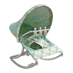 Hoohobbers - Hoohobbers Burst Seagrass Rocking Infant Rocker Seat - 271-92 - Shop for Rocking Toys from Hayneedle.com! Fun bright colors create a beautiful pattern on the Hoohobbers Burst Seagrass Rocking Infant Rocker Seat. Designed to cradle your baby like a mother's arms this rocker has a deep soft sling which surrounds and fully cradles your baby. Your baby will be able to create a smooth gentle and calming rocking motion while moving helping her to calm herself. A removable toy bar with spinning characters will help to keep her entertained as she sits in the rocker. Its smooth solid frame locks to help keep your baby safe while the stabilizing feet prevents tipping. Its protective hood helps to block light and drafts to keep your baby comfortable. Its water safe machine washable fabric is easy to clean so you don't have to worry about accidents and spills. Simply fold this rocker up when you're on the go and bring it with you wherever you're traveling. Additional Features Baby calms self with gentle rocking motion 4 lbs rocker folds for easy transportation Removable toy bar with spinning toys Solid smooth frame which locks Stabilizing feet helps keep baby safe Protective hood helps block light and drafts About HoohobbersBased in Chicago Hoohobbers has designed and manufactured its own line of products since 1981 beginning with the now-classic junior director's chair. Hoohobbers makes both hard goods (furniture) and soft goods. Hoohobbers' hard goods are not your typical furniture products; they fold are lightweight and portable and are made to be carried by children all around the house. Even outdoors Hoohobbers' hard goods are 100 percent water-safe. At the same time they are plenty durable and can take the abuse children often give. Hoohobbers' soft goods are fabric items ranging from bibs to bedding from art smocks to Moses baskets. Hoohobbers' products are recognized by independent third parties for their quality and performance. Hoohobbers has received Best Design Awards from America's Juvenile Products Association each time selected from more than 20 000 products. Hoohobbers has also received the Parents' Choice Award and no Hoohobbers product has ever been subject to consumer recall. Furthermore the company's products are often featured in leading women's and children's publications.