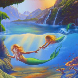 Murals Your Way - Mother And Child Wall Art - A young mermaid races to grasp her mother's hand in this wall mural as the playful pair explore a beautiful cove below a number of waterfalls