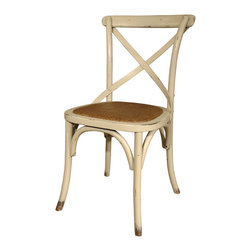 Kathy Kuo Home - Pair Kasson Classic Parisians Antique White Caned Rattan Seat Cafe Chair - Recapture the romance of your favorite Parisian cafe. These charming bistro chairs — made from distressed caned rattan — are not only comfy but they've got a certain je ne sais quoi. Like Paris, you'll fall in love with them again and again.