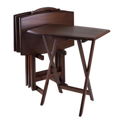 Winsome - 5pc Oversize TV Table - With Sturdy wooden legs. These tables are oversized to offer extra dining or working surface. Warm walnut finish.