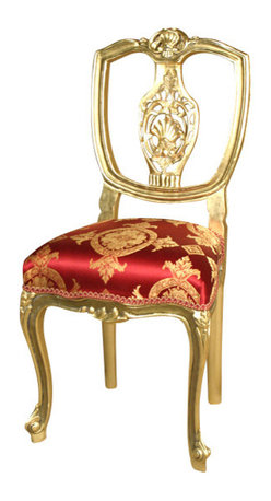 MBW Furniture - Solid Wood Gold Gilded Occasional Accent Side Chair - Solid Beechwood Frame