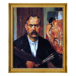 """Lovis Corinth-16""""x20"""" Framed Canvas - 16"""" x 20"""" Lovis Corinth Self Portrait without Collar framed premium canvas print reproduced to meet museum quality standards. Our museum quality canvas prints are produced using high-precision print technology for a more accurate reproduction printed on high quality canvas with fade-resistant, archival inks. Our progressive business model allows us to offer works of art to you at the best wholesale pricing, significantly less than art gallery prices, affordable to all. This artwork is hand stretched onto wooden stretcher bars, then mounted into our 3"""" wide gold finish frame with black panel by one of our expert framers. Our framed canvas print comes with hardware, ready to hang on your wall.  We present a comprehensive collection of exceptional canvas art reproductions by Lovis Corinth."""