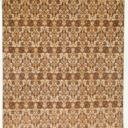 Rug Knots - Traditional Handmade Oriental Rug without Borders Grey and Multi-Colored 9x12.3 - A natural color palette of charcoal grey, warm beige, rich camel, and romantic red rust is displayed in this intricate rug. A complex design features geometric shapes embellished by curved lines and artistic details. This neutral, Overdyed-like rug would blend beautifully into an earthy, rustic design. The rug is made of pure wool and was handcrafted by rug artists in Pakistan. Its high-quality fibers are designed to withstand daily wear and its rich color will remain for years to come.