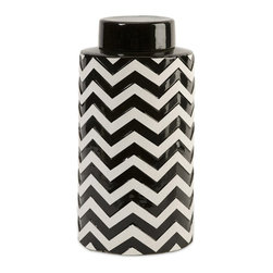 iMax - iMax Chevron Large Canister w/ Lid X-48181 - The most popular twist on stripes covers this large lidded canister that looks great in a variety of spaces.