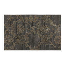 Uttermost - Red Unique Rug Low Cut Wool Shades Gray Rust Beige Details Home Decor - Red modern unique style rug low cut wool in shades of dark gray with rust beige details home accent decor