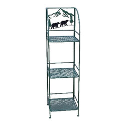 Zeckos - Brown Metal 3 Tier Bear Silhouette Linen Shelf - This wonderful wrought iron Bear Silhouette 3 tier linen shelf is a perfect accessory to add to your bathroom or patio. The shelf measures 48 inches tall, 13 1/4 inches wide and 13 1/4 inches deep, and folds flat for storage when not in use. It has a brown enamel finish to match most color patterns. It's great for storing extra towels, hair dryers, bath supplies or even knickknacks. It makes a great gift.