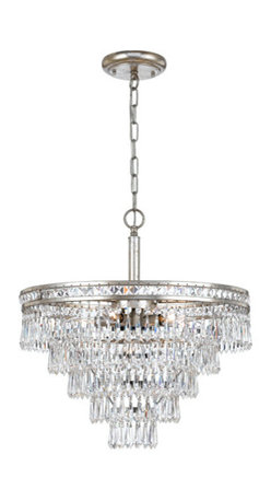 Crystorama Lighting Group - Mercer Olde Silver Six Light Hand Cut Crystal Convertible Chandelier - - Our Mercer collection has all the angles covered. It is stunning no matter how you look at it. The metal work is as beautiful as the waterfall of crystal beads and faceted jewels that adorn it. From below, the metal forms a floral design, like something you might see in a stained glass window  - Crystorama fixtures combine high-style design with premium materials and manufacturing techniques  - Chain or Rod Length: 72 Inch  - Wire Length: 120 Inch Crystorama Lighting Group - 5264-OS-CL-MWP