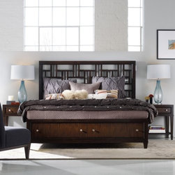 "Ludlow Fretwork Storage Platform Bed - Inspired by industrial design, with a flourish of metropolitan chic, the Ludlow Fretwork Storage Bed will make a distinctive impression in your contemporary home. Expertly crafted of premium hardwood with walnut veneers and a rich, warm finish, this handsome bed features a modern, geometric-style headboard and two spacious drawers that offer discreet storage of linens, clothes and more.Each drawer on this expertly-constructed bed features dovetail construction and durable, smooth-glide ball-bearing guides.Queen: 87L x 63.25W x 64H inchesKing: 87L x 79.25W x 64H inchesCalifornia king: 108.25L x 79.25W x 64H inchesNot available for sale in, or delivery to, the state of California.About Hooker Furniture CorporationFor 83 years, Hooker Furniture Corporation has produced high-quality, innovative home furnishings that seamlessly combine function and elegance. Today, Hooker is one of the nation's premier manufacturers and importers of furniture and seeks to enrich the lives of customers with beautiful, trouble-free home furnishings. The Martinsville, Virginia, based company specializes in lifestyle driven furnishings like entertainment centers, home office furniture, accent tables, and chairs.Construction of Hooker FurnitureHooker Furniture chooses solid woods and select wood veneers over wood frames to construct their high-quality pieces. By using wood veneer, pieces can be given a decorative look that can't be achieved with the use of solid wood alone. The veneers add beautiful accents of color and design to the pieces, and are placed over engineered wood product for strength. All Hooker wood veneers are made from renewable resources and are located primarily on the flat surfaces of the furniture, such as the case tops and sides.Each Hooker furniture piece is finished using up to 30 different steps, including 13 steps of hand-sanding and accenting. Physical distressing is done by hand. Pieces receive two to three coats of solid lacquer to create extra depth and add durability to the finish. Each case frame is assembled using strong mortise-and-tenon joints, which are then reinforced by mechanical fasteners and glue. On most designs, end panels extend to the floor to add strength and stability. Panel-style furniture features strong panel and frame construction to help avoid warping.Your Hooker furniture features finished case interiors to eliminate unsightly ""raw wood"" and to help protect items you may store inside drawers or cabinets. Drawer parts are given a urethane or lacquer finish to create smooth action and durability. All drawers use dovetails, either English or French, for years of problem-free use. Drawer bottoms are constructed from plywood and attached to the plywood drawer sides via the use of hot glue and/or wood glue blocks. Most drawers are full width, depth, and height to provide the maximum amount of storage space."