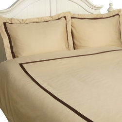 """Hotel Collection 300 TC Cotton Full/Queen Duvet Cover Set, Honey/Mocha - Complete your bedroom with this 100% Cotton Duvet Cover Set. This bedding set features a White 300 Thread Count Sateen background with a variety of inlay inset. This affordable luxury drapes beautifully on the bed with the convenience of button closures. Set includes one duvet cover 68""""x90"""" and one pillow-sham 20""""x26""""."""