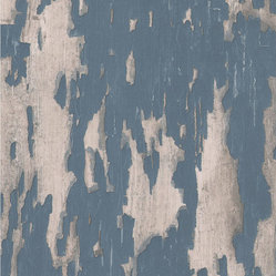 Kathy Kuo Home - Distressed Plaster Industrial Loft Wallpaper - Blue - This trompe l'oeil trickery will appeal to your quirky sense of humor and give a rustic aged background to your favorite setting. The coated wallpaper is designed to look like peeling plaster, but don't worry, there are no flakes to sweep up.