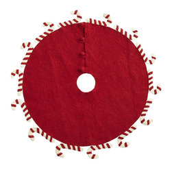 PEPPERMINT TREE SKIRT - NEW - This adorable, small-scale tree skirt is perfect for a tiny tree atop a side table. The candy canes hook out—to grab tiny presents, maybe? A great finishing touch for a large tablescape, or as the primary tree in an apartment or condo.