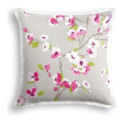 Gray & Magenta Cherry Blossom Custom Throw Pillow - The Tailored Throw Pillow is an updated, contemporary pillow style with the center fabric framed by a thin contrast flange.  Voila!-it's artwork for your couch! We love it in this light gray and fuchsia cherry blossom linen print that will make your room as refined and serene as a real Japanese garden.