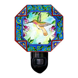 Hummingbird Night Light - Our beautiful Hummingbird Night Light will provides a soft comforting glow and fits in any room. It is made of a print of original painting which is sandwiched in between two layers of durable acrylic. The light is UL approved and comes with a standard four watt night light bulb. Gift box included. Made in the USA. (Be sure to look for our hummingbird wall clock, alarm clock and magnets,too!)