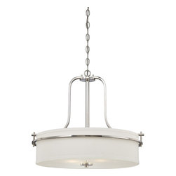 Nuvo Lighting - Nuvo Loren 3-light Polished Nickel Pendant - The Loren fixture,finished in Venetian bronze or polished nickel and accented by etched opal glass or white linen shades,features unique fixtures. The Loren fixture finds itself at home anywhere a distinctive design touch is needed.