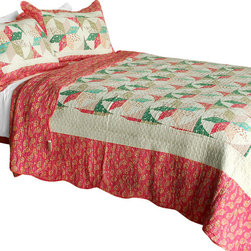 Blancho Bedding - [Mio Dolce Sogno] Cotton 3PC Vermicelli-Quilted Patchwork Quilt Set (Full/Queen) - Set includes a quilt and two quilted shams (one in twin set). Shell and fill are 100% cotton. For convenience, all bedding components are machine washable on cold in the gentle cycle and can be dried on low heat and will last you years. Intricate vermicelli quilting provides a rich surface texture. This vermicelli-quilted quilt set will refresh your bedroom decor instantly, create a cozy and inviting atmosphere and is sure to transform the look of your bedroom or guest room. Dimensions: Full/Queen quilt: 90 inches x 98 inches  Standard sham: 20 inches x 26 inches.