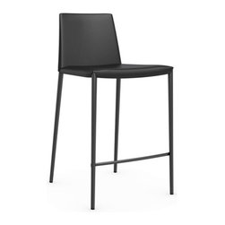 Calligaris - Boheme Leather Counter Stool, Black - A counter stool with quiet charisma. Svelte leather extends all the way down its upholstered steel legs, and its minimalist shape injects just the right amount of modern into your space.