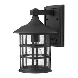 Hinkley Lighting - Hinkley Lighting 1804BK Freeport Transitional Outdoor Wall Sconce - Medium - Freeport features a classic New England design in cast aluminum construction complemented by clear seedy glass for a timeless traditional style that will complement a variety of exteriors.