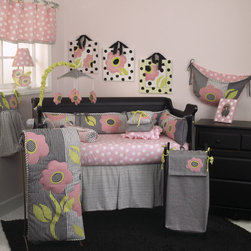 Cotton Tale Designs - Poppy 7 Piece Crib Bedding Set - A quality baby bedding set is essential in making your nursery warm and inviting. Cotton Tale uses quality materials and unique designs to create your perfect nursery. Poppy 7 Pc Set includes 3 pc bedding set(dust ruffle, fitted crib sheet, coverlet) diaper stacker, pillow pack, valance, and toy bag. Poppy is an all cotton set with contemporary poppy applique. Woven cotton hounds tooth in black and white, combined in a patchwork of black, white, pink, and citrus green. Fun patchwork poppies appliqued on a light weight comforter, reverse in big dot pink. Poppy diaper stacker measures 21 x 7 x 9 and holds 5 dozen newborn diapers. Hang from the dresser or changer, but never hang from the crib. Poppy Toy Bag measures 2 7x 13 x 1 and is fun and functional. It can store supplies or toys and can hang from the dresser, changing table or from the wall. Never tie to the baby's crib. The Poppy Valance measures 55 x 16 and is all cotton. The Poppy Pillow Pack is a set of 3 pillows measuring 15 x 15, 12 x 12, 10 x 10. The pillows are cotton shell and poly fill. Spot clean pillows only. Everything else you can machine wash, cold water, gentle cycle, separately. Tumble dry low, or hang to dry. This collection is perfect for your little girl. NO BUMPER INCLUDED IN THIS SET.