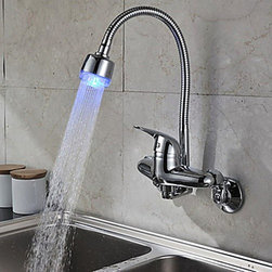 Kitchen Sink Faucets - Chrome Finish Single Handle Color Changing LED Wall Mount Kitchen Faucet--FaucetSuperDeal.com