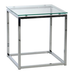 Euro Style - Star End Table - Clear tempered glass top. Chromed steel frame. 17.72 in. W x 17.72 in. D x 19.09 in. H (19.8 lbs.)Grand ideas for small spaces, the smooth and clean geometric shapes give your rooms a trendy, up-to-date look. The furniture design make your rooms stylish and sophisticated, symbolizing your self confidence.