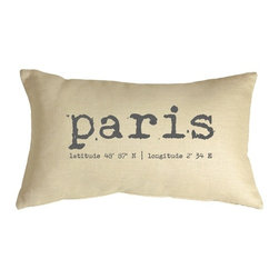 Pillow Decor - Pillow Decor - Paris Coordinates 12 x 20 Throw Pillow - Paris and its geographic coordinates are printed across this throw pillow in an old typewriter typeset. The gray-taupe font contrasts nicely against the natural cream linen fabric giving the pillow a beautiful vintage look and feel. The Paris Coordinates Pillow is a perfect size for a stand alone chair in a den, office, or living room or would make a nice finishing touch on a bed or window seat.