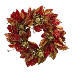 Nearly Natural - 24in. Burgundy & Gold Artichoke Wreath - The artichoke as an Autumn foliage? You bet!! Just take a look at this incredible 24' wreath, made up of faux artichoke blooms, surrounded by classic red, burgundy and brown hued leaves. Holding this incredibly stunning combination together is a 'twigged' ring of branches, making this easily one of the most unique offerings. Get yours today.