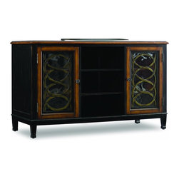 "Hooker Furniture - Two Toned 60"" Entertainment Console - White glove, in-home delivery included!  Crafted from hardwood solids with an ash burl border and walnut veneers. This two-tone black and wood finish with rub-through entertainment console features physical distressing and antique finished knobs.   Center Opening: 19"" w x 22"" d x 27"" h  Door Openings: 18 1/2"" w x 22"" d 27"" h"