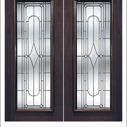 Exterior and Interior Beveled Glass Doors Model # 840 - Our Beveled Glass Doors are made of individually hand cut glass put together with metal caming.  Doors triple glazed (three pieces of glass) for insulation and they are easy to clean with a smooth surface.  Doors are available in a variety of sizes and styles. The door is constructed from FSC Brazilian Mahogany.  Interior versions of these doors are available in our Decorative Glass Doors under the interior doors category.
