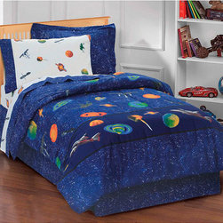 None - Galaxy 6-piece Space Cotton/Polyester Bed in a Bag with Sheet Set - This bright blue outer space bed in a bag with sheet set for kids is both fun and functional. For the solar system lover, the galaxy print is just the right bedroom pattern. The set includes comforter, sham, bedskirt, fitted and flat sheets.
