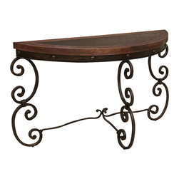 Artisan Home Furniture - Artisan Home Cantabria Half Moon Sofa Table w/ Faux Leather Top - Beautifully stamped, this faux leather has a protective lacquer finish. Ornament base brings beauty and style to any room. Adds old world charm.