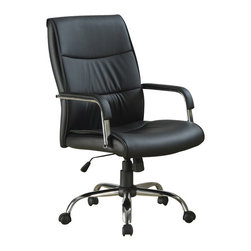 Monarch Specialties - Monarch Specialties Office Chair in Black - This gorgeous contemporary office chair will add both style and comfort to your home office or study area. The plush high chair back and seat are covered in rich black faux leather for comfortable seating, framed by sleek curved padded metal arms for a modern look. An adjustable height gas lift allows you to customize the fit, with casters below the silver tone base for easy mobility. Create a warm and stylish home office or homework area with this casual piece. What's included: Office Chair (1).