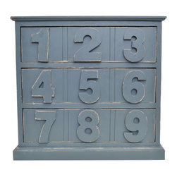 Enchante Accessories Inc - Distressed Wood Cabinet with Drawers, Dark Grey - Beautifully distressed wooden cabinet with 3 drawers. Wooden numbers on each drawer. Excellent for storing office supplies, art supplies & books.  Place on your desk for easy access to your gadgets and nicknacks. Wonderful in kids rooms and home offices. This desktop organizer keeps your stuff hidden away in style.